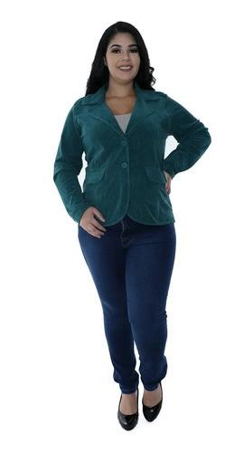 Casaco Plus Size Feminino Plush Com Botão Jacquard Verde