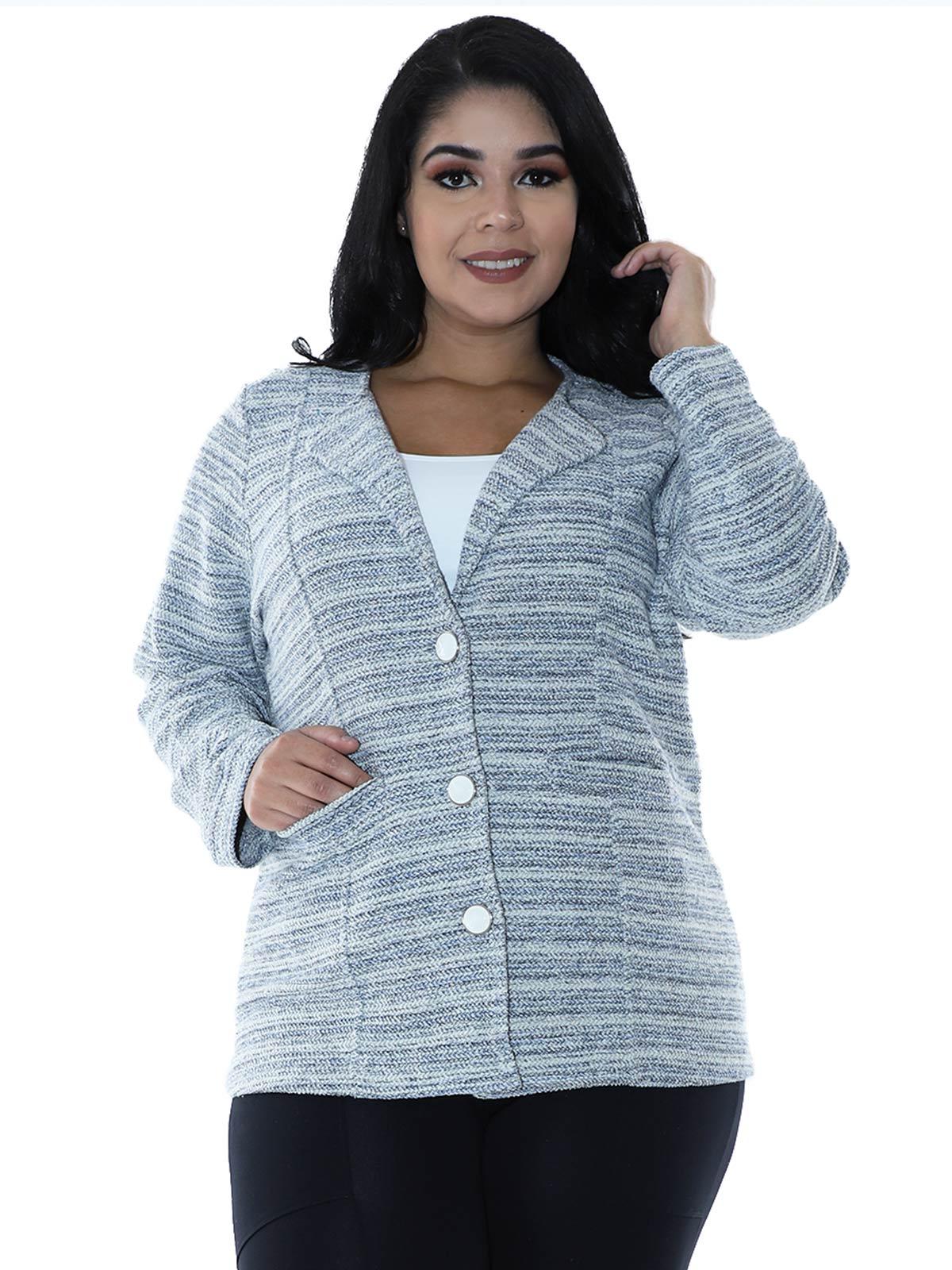 Casaco Plus Size Fleece Tricot Colors Azul Marinho