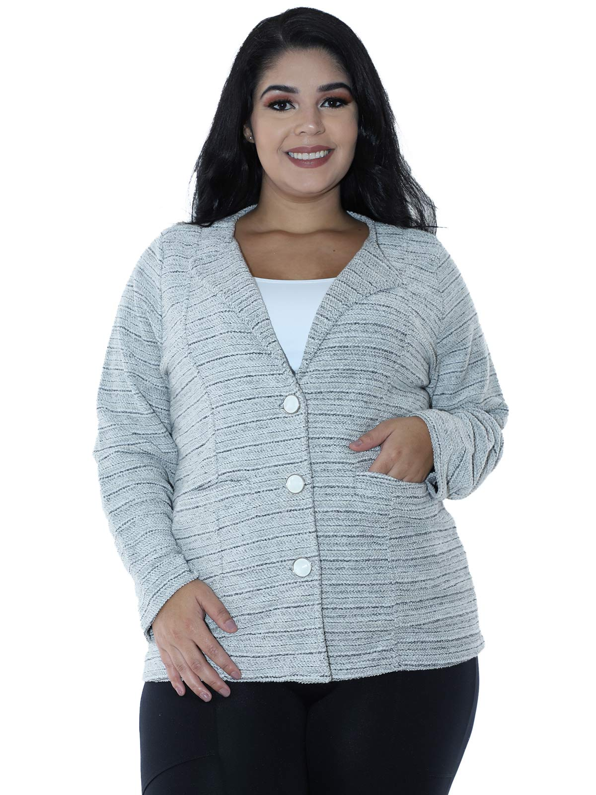 Casaco Plus Size Fleece Tricot Colors Preto