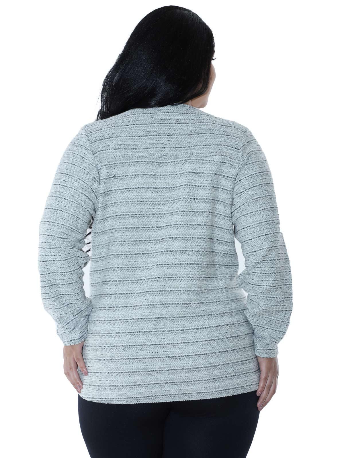 Casaco Plus Size Fleece Tricot Colors Preto