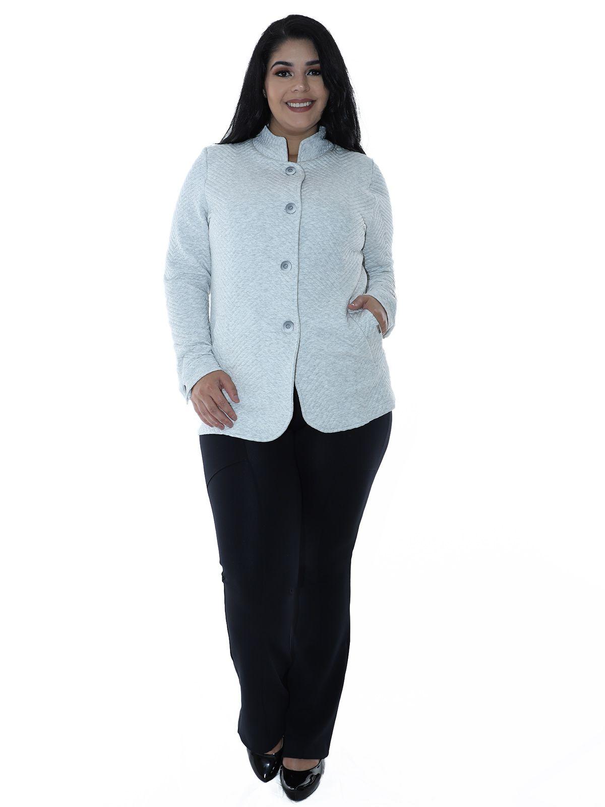 Casaco Plus Size Matelasse com Botões Branco