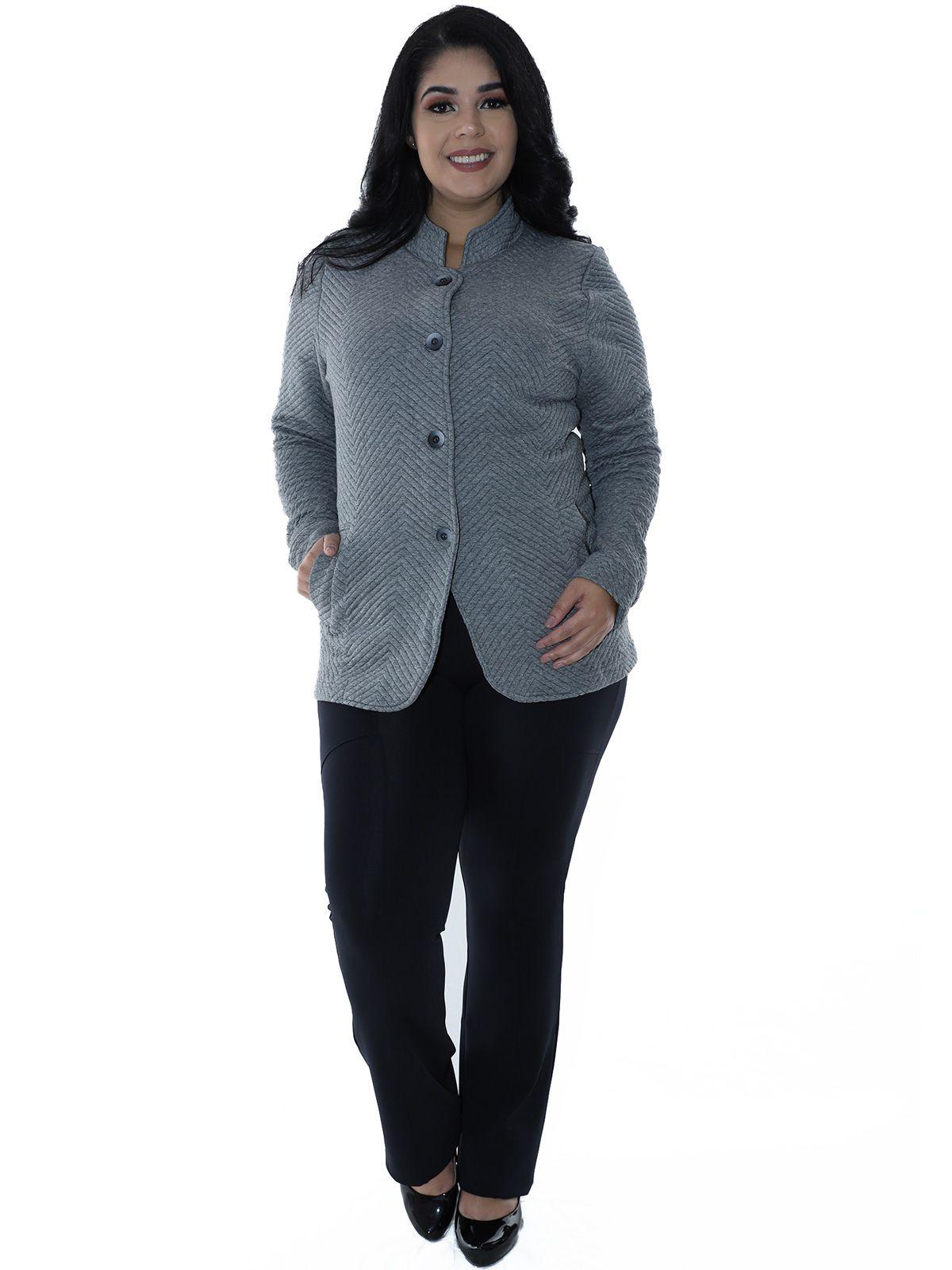 Casaco Plus Size Matelasse com Botões Mescla