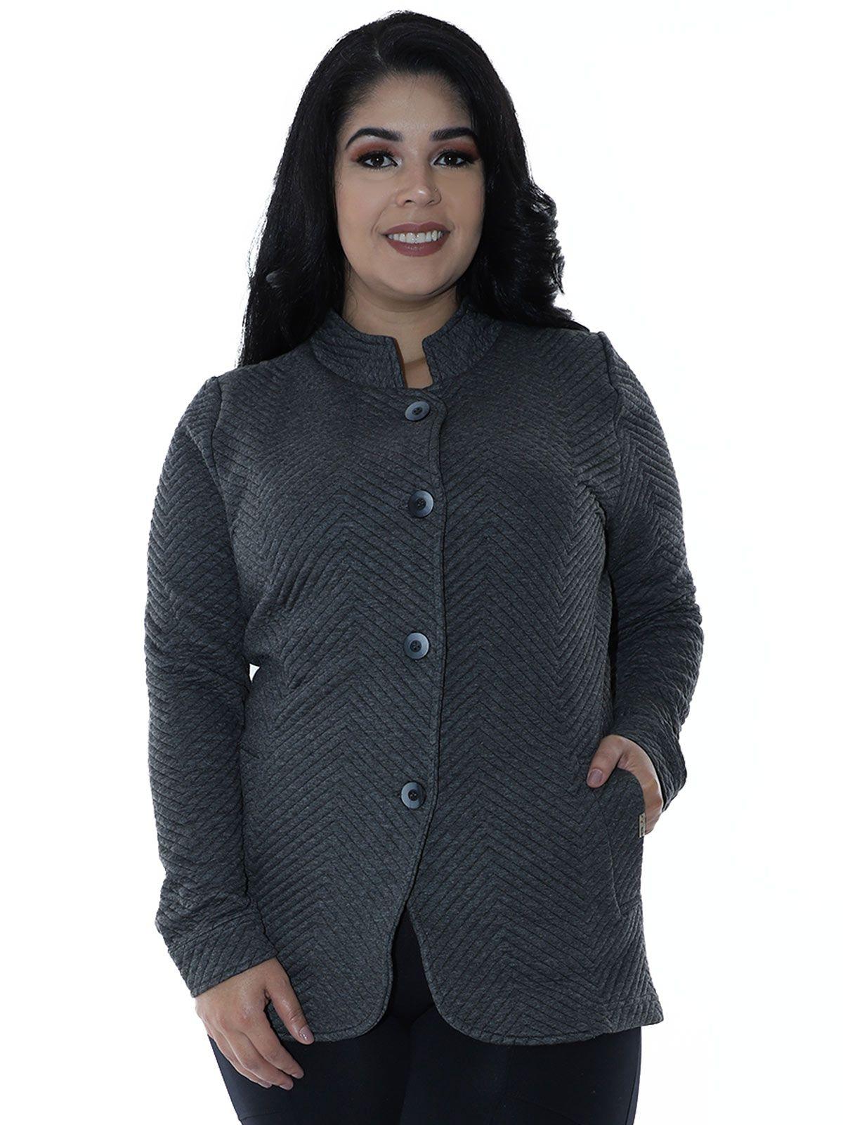 Casaco Plus Size Matelasse com Botões Mescla Escuro