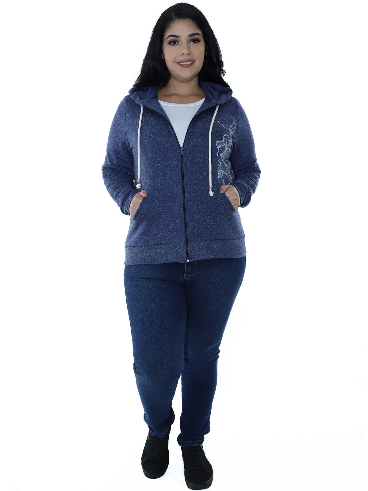 Casaco Plus Size Moletom Fleece Botonê Azul Marinho