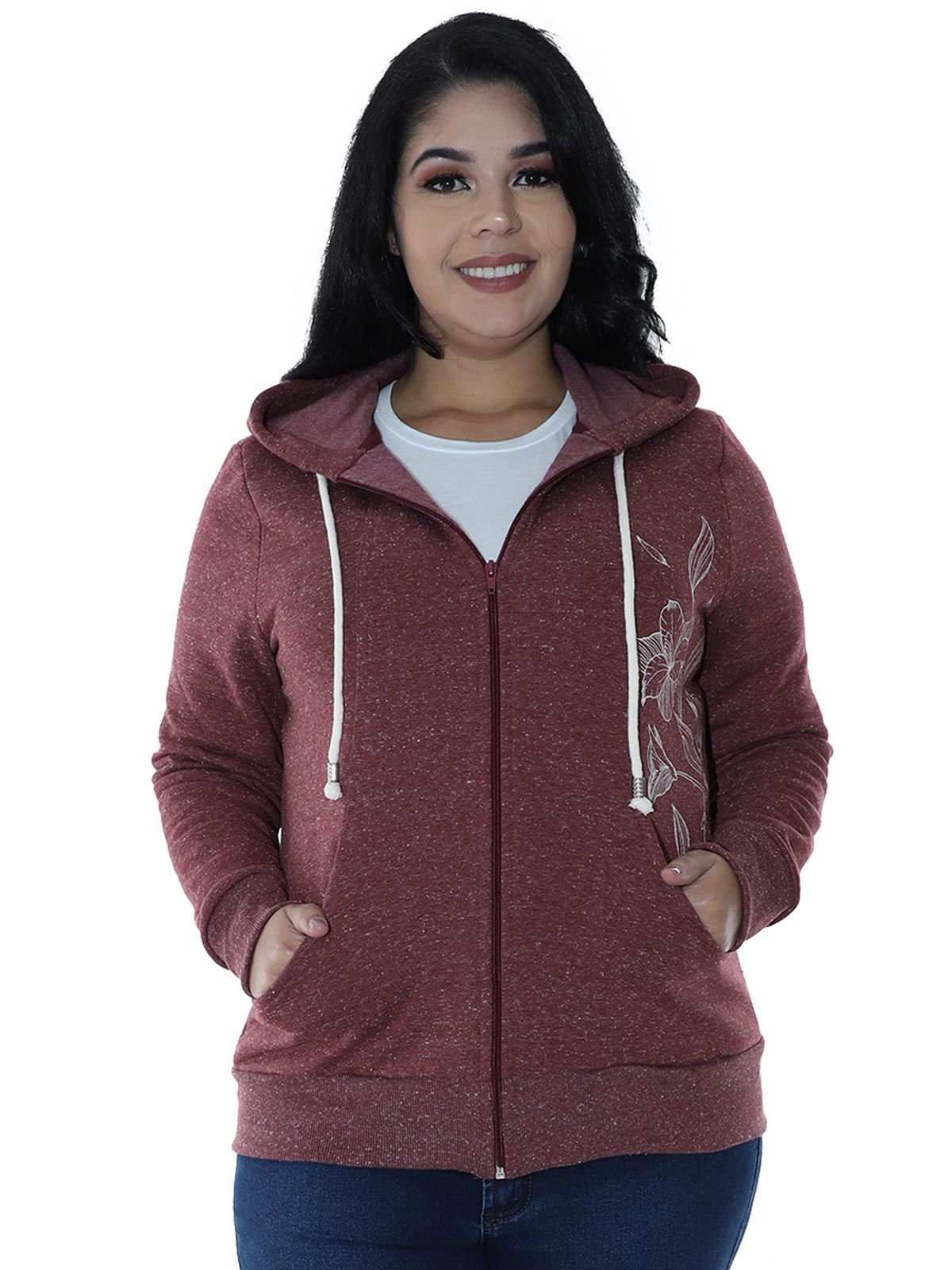 Casaco Plus Size Moletom Fleece Botonê Bordo