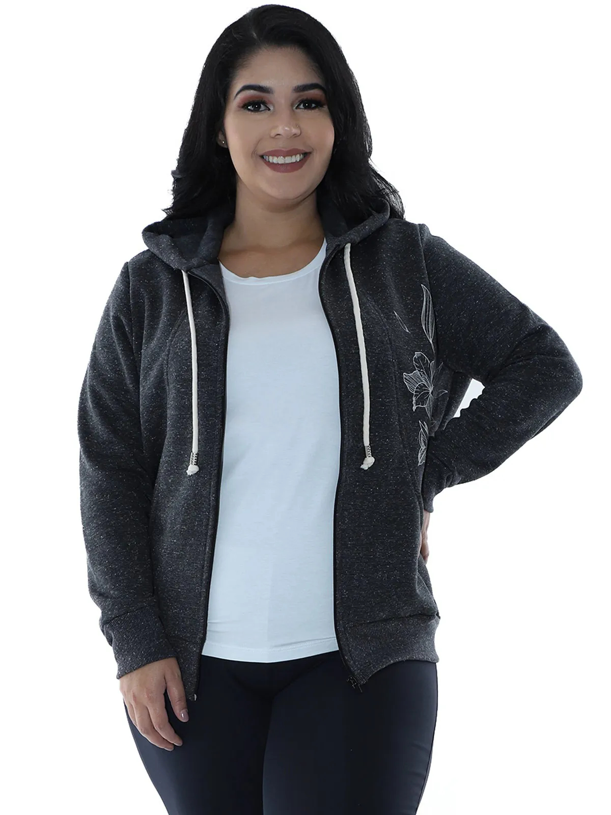 Casaco Plus Size Moletom Fleece Botonê Preto