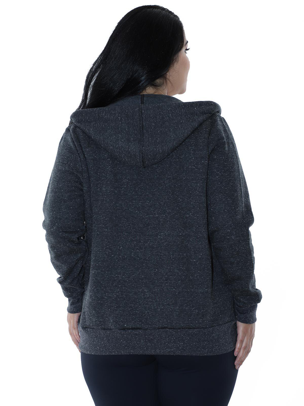 Casaco Plus Size Moletom Fleece Botonê Preto