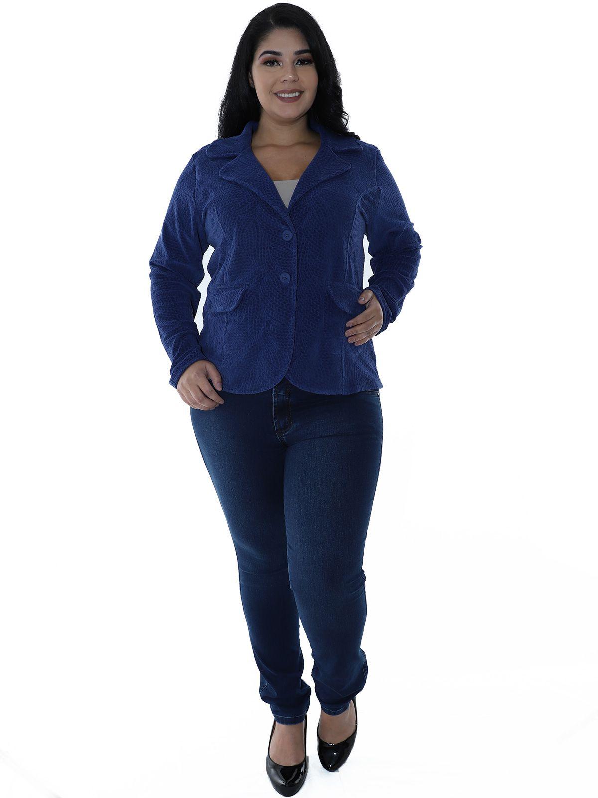 Casaco Plus Size Plush Jacquard Azul Marinho