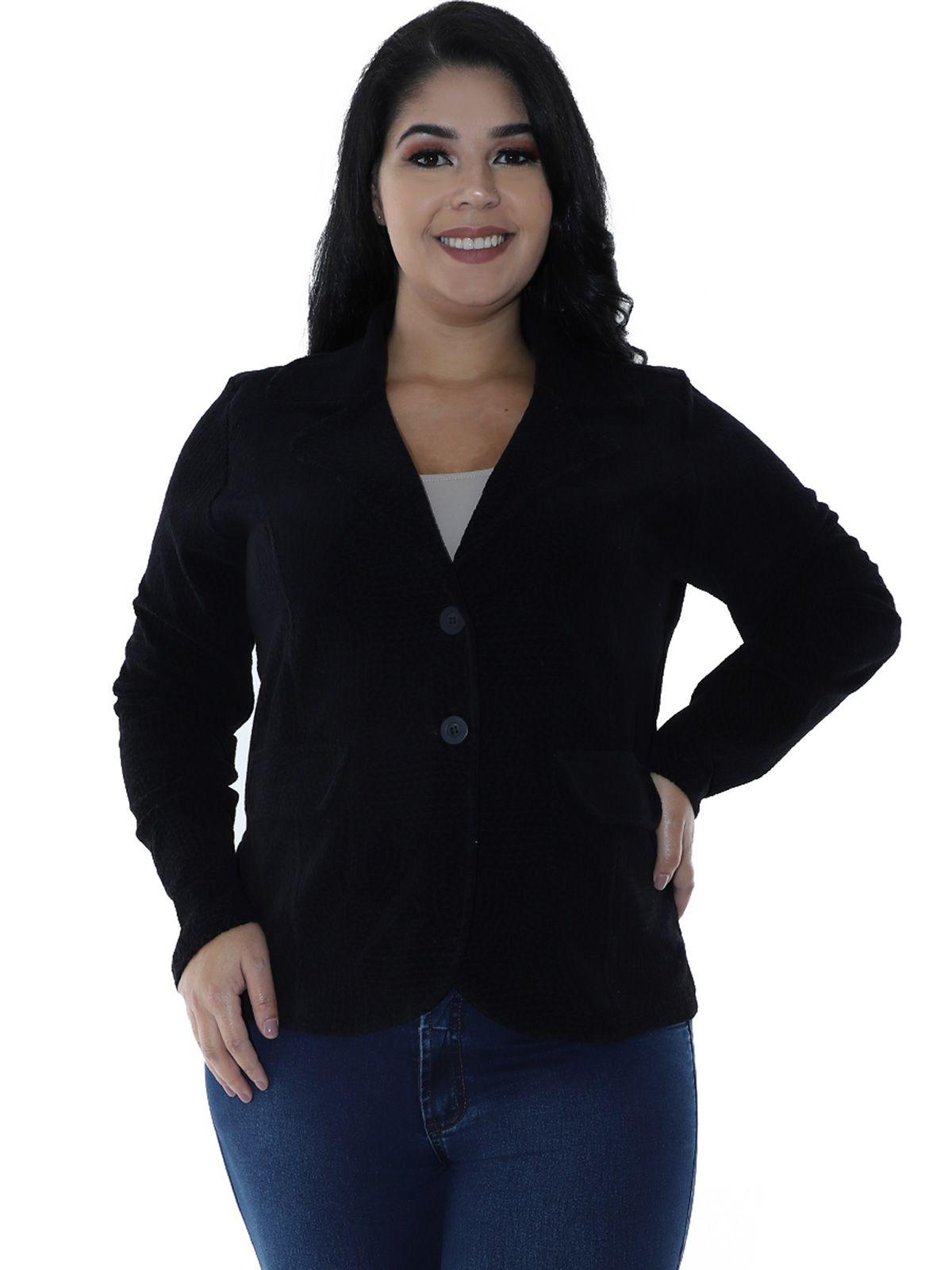 Casaco Plus Size Plush Jacquard Preto