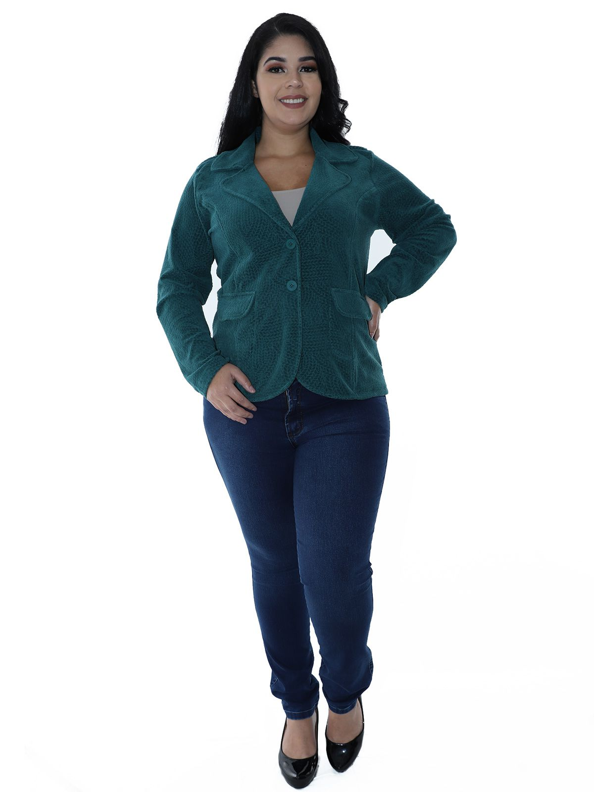 Casaco Plus Size Plush Jacquard Verde