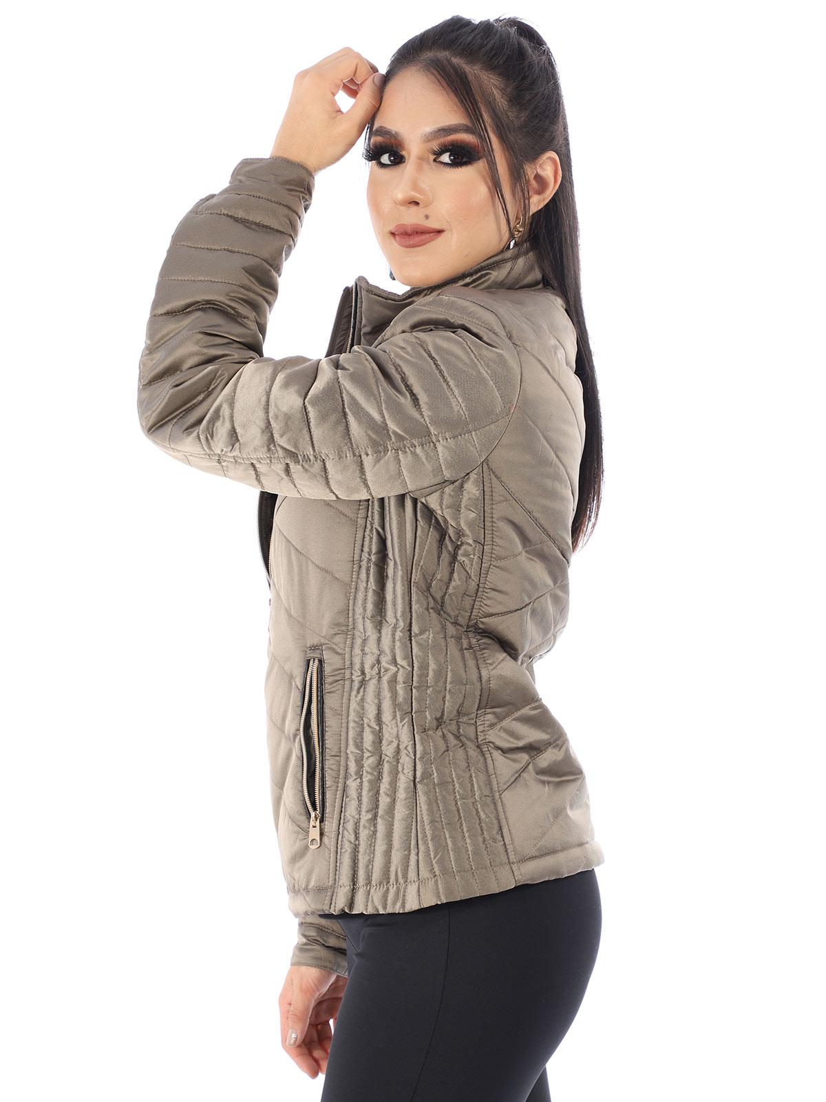 Jaqueta Feminina De Nylon Com Forro de Camurça Prata