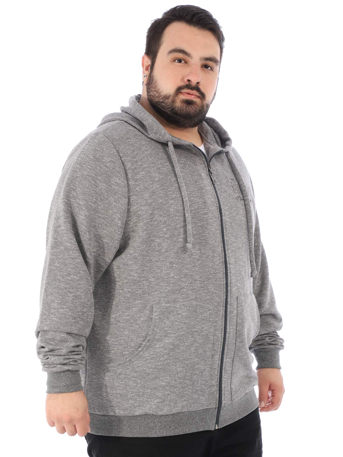 Jaqueta Plus Size Masculina De Moletom Sem Felpa Mescla