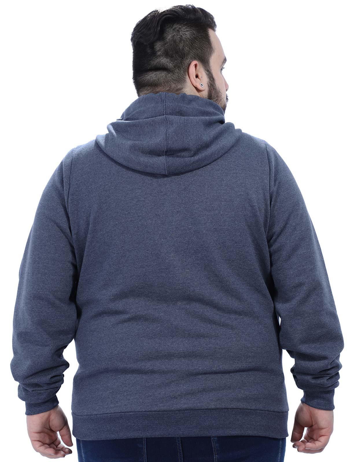 Jaqueta Plus Size Masculino de Moletom Bolso Cangurú Anistia Azul Marinho
