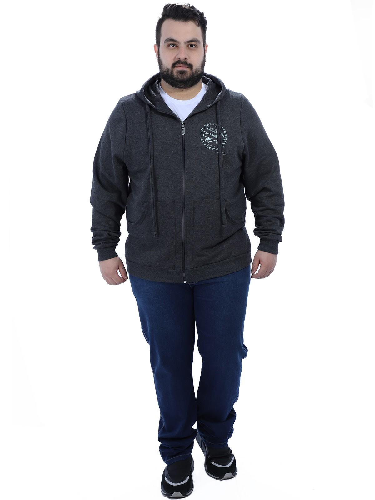 Jaqueta Plus Size Masculino de Moletom Bolso Cangurú Anistia Preto
