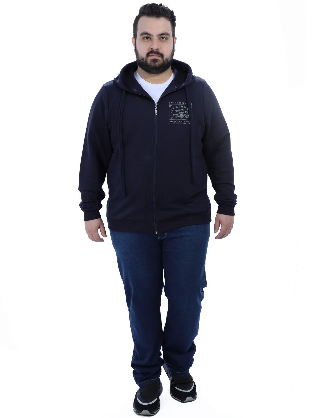 Jaqueta Plus Size Masculino de Moletom com Capuz Anistia Azul Marinho