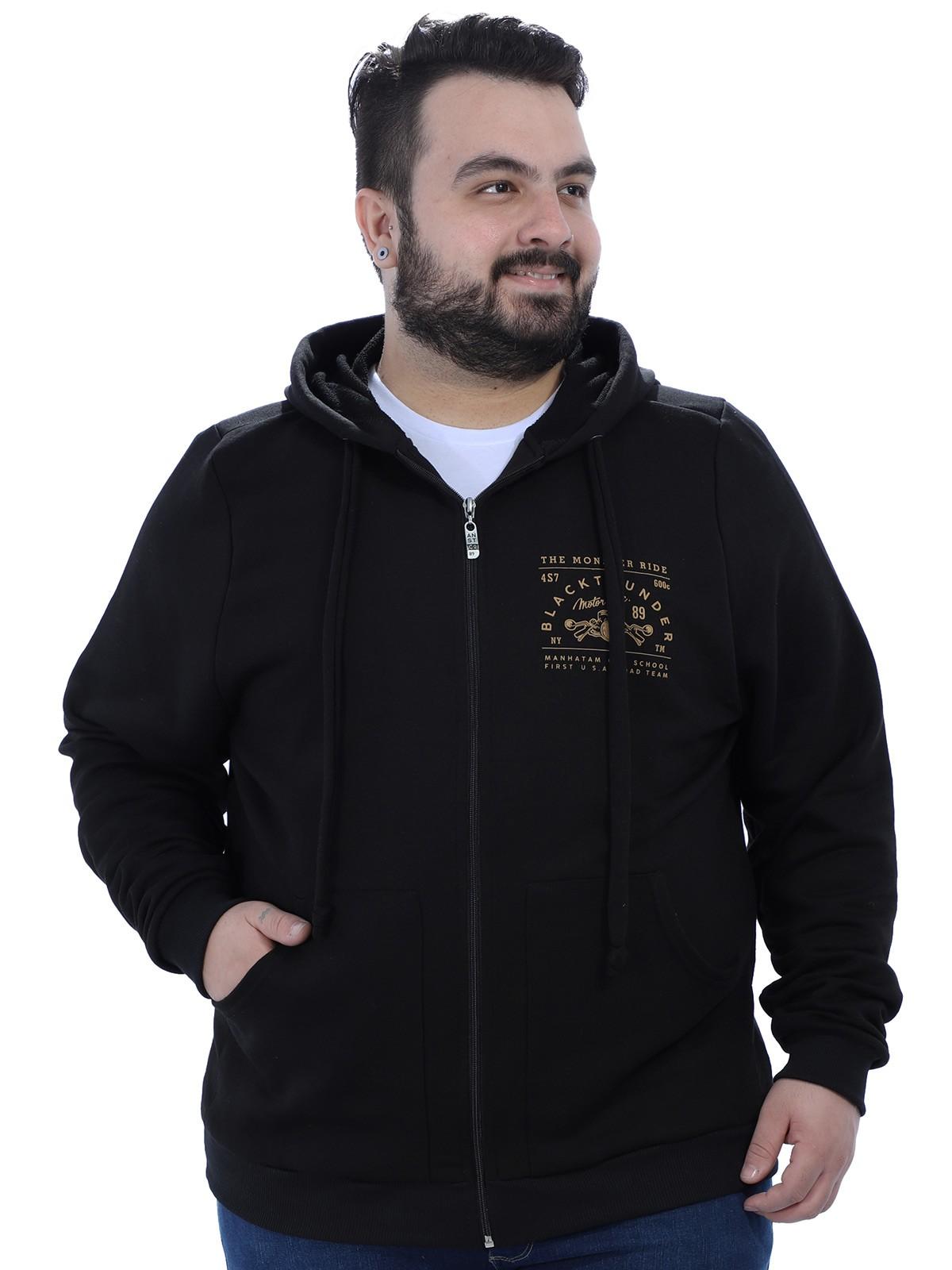 Jaqueta Plus Size Masculino de Moletom com Capuz Anistia Preto