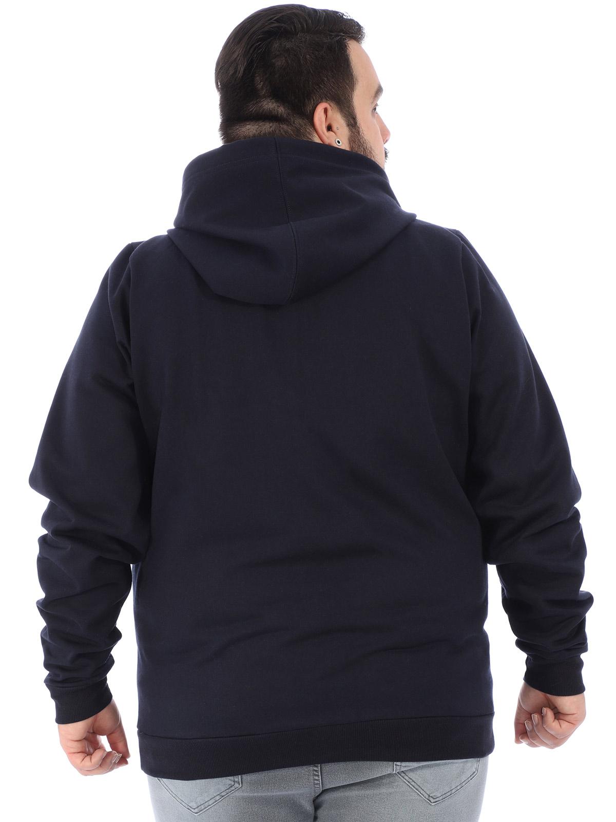 Jaqueta Plus Size Masculino Moletom Flanelado Capuz Marinho