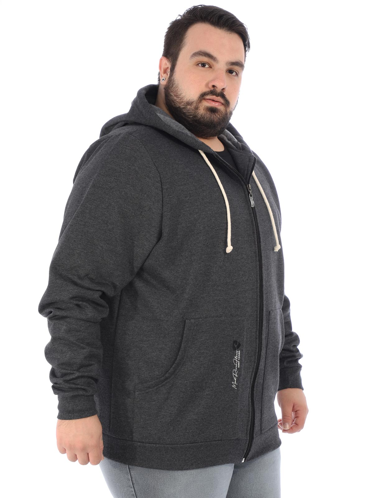 Jaqueta Plus Size Masculino Moletom Flanelado Capuz Mescla