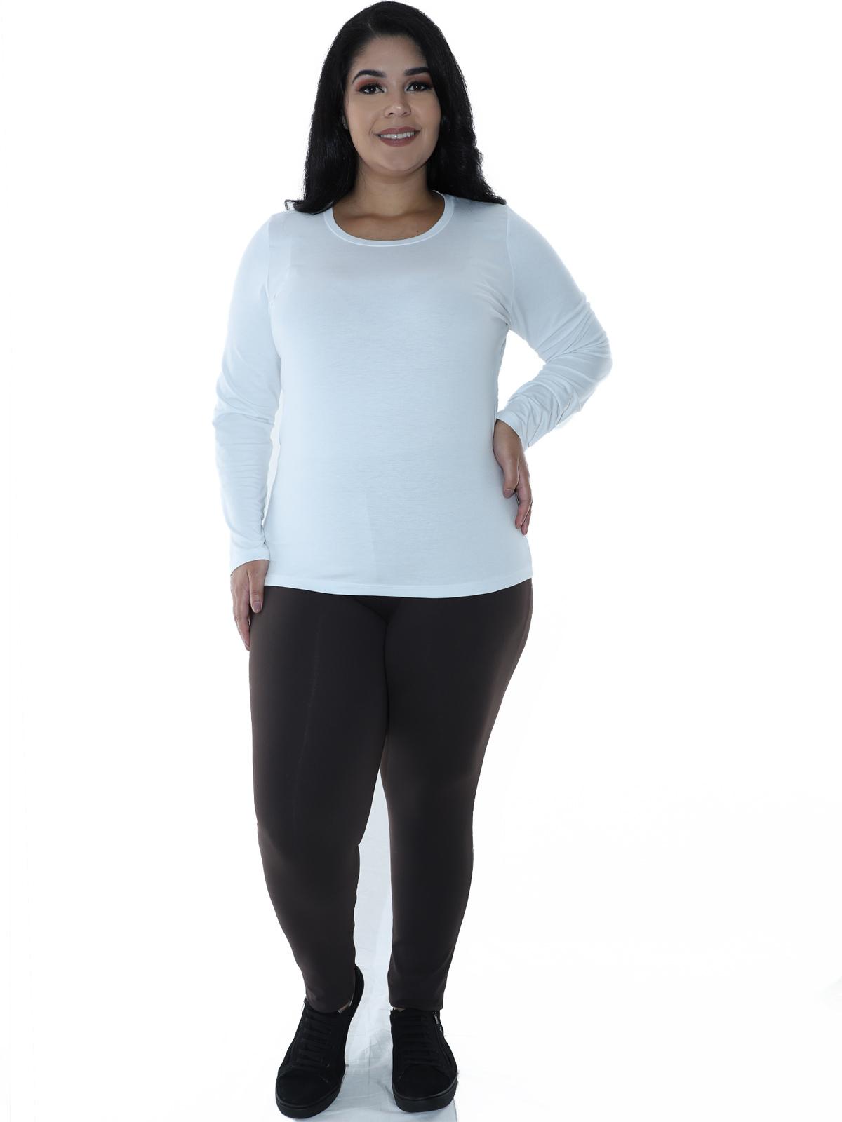 Kit 3 Calças Legging Plus Size AZUL MARINHO, MARROM, MESCLA