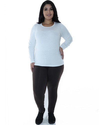 Kit 3 Calças Legging Plus Size PRETO, MARROM, MESCLA