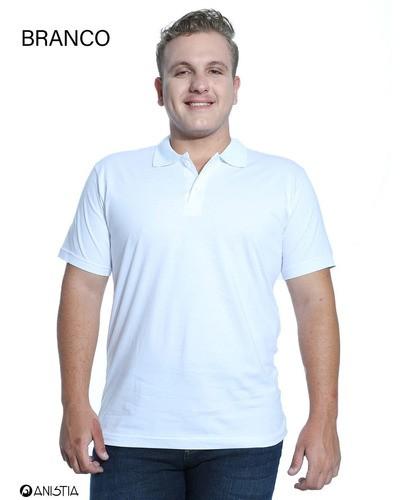 Kit 3 Camisas Polo Masculina Básica Algodão Lisa Manga Curta