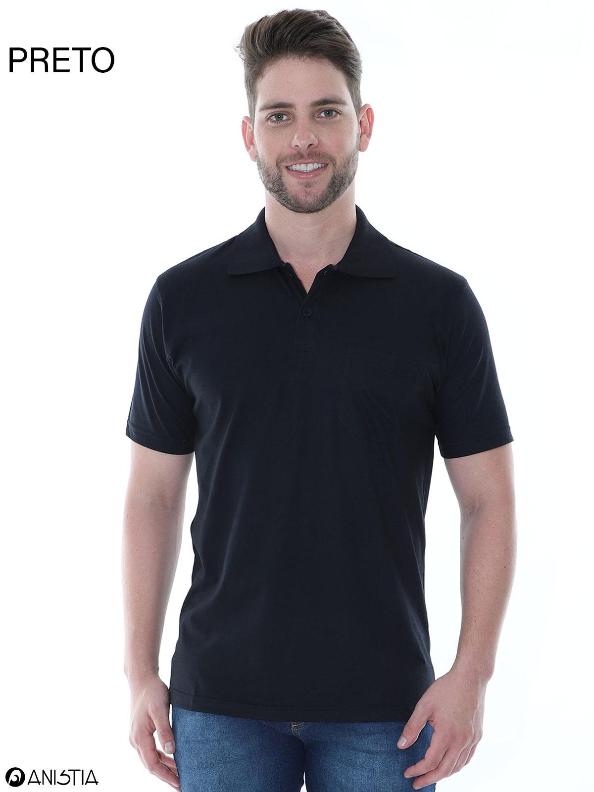Kit 3 Camisas Polo Masculina Com Bolso Básica Algodão Lisa