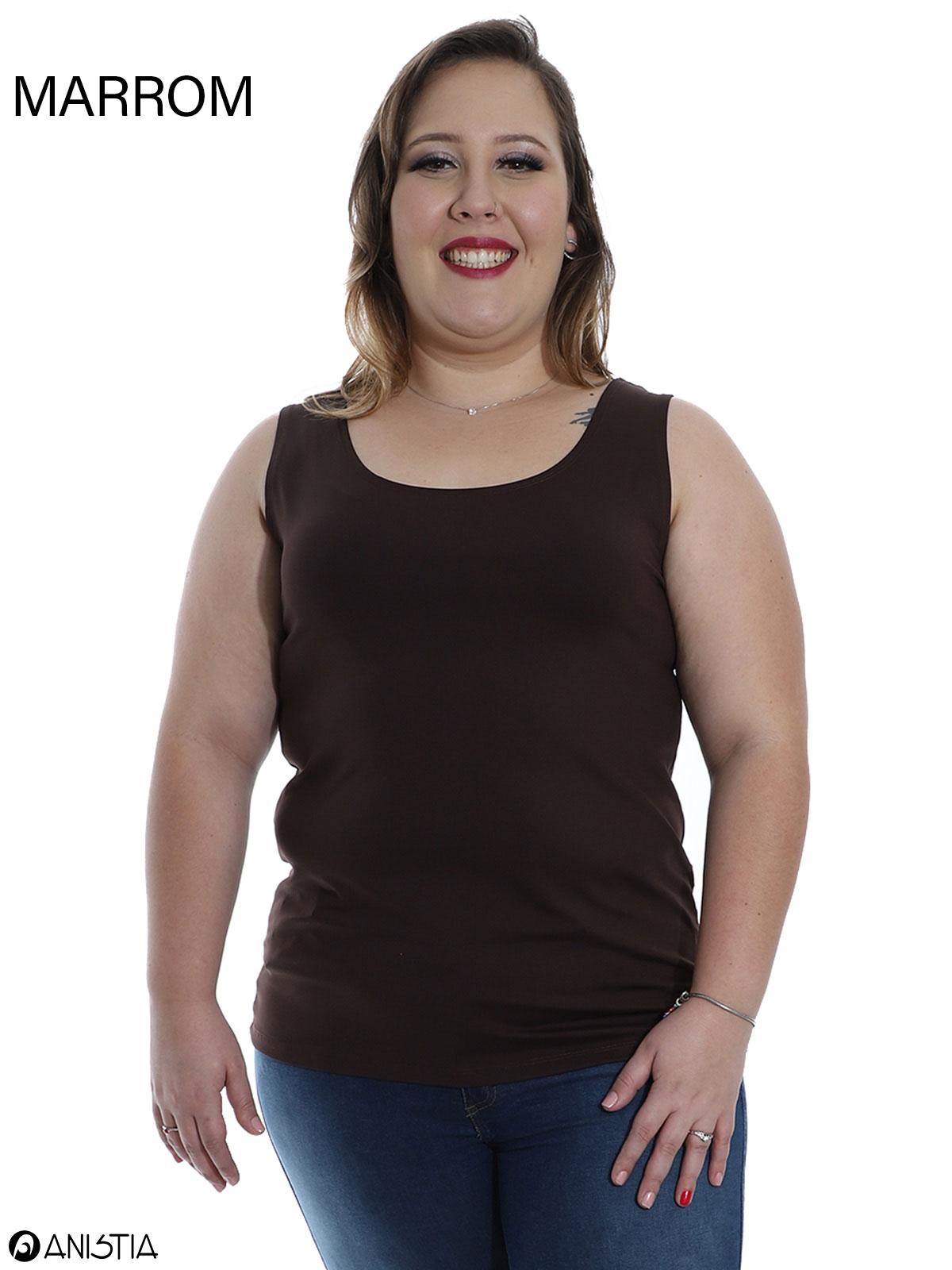 Kit 3 Regatas Plus Size Feminina Lisa Fitness De Poliamida