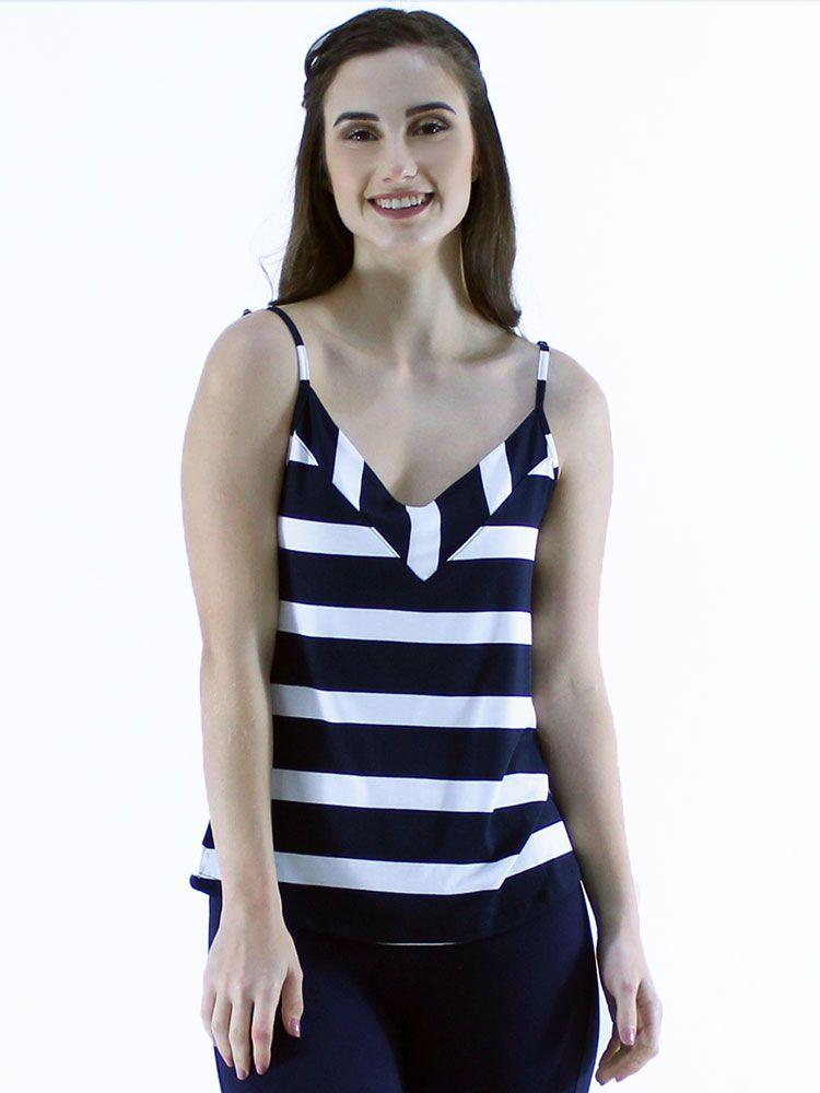 Regata Feminina Alça Com Regulador Viscolycra Azul Marinho
