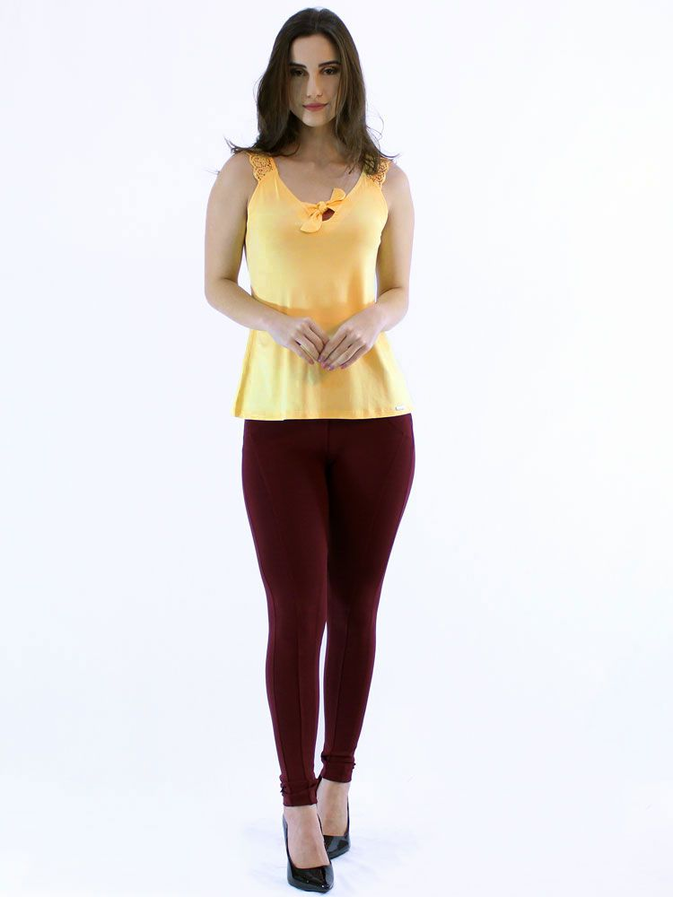 Regata Feminina Visoclycra Alça Renda De Guipir Amarelo