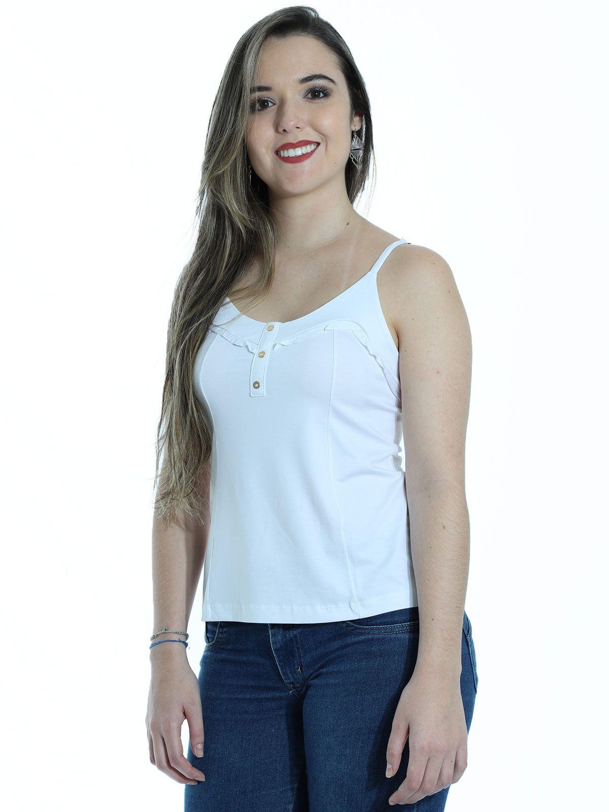 Regata Feminina Viscolycra De Alça Com Botões Branco
