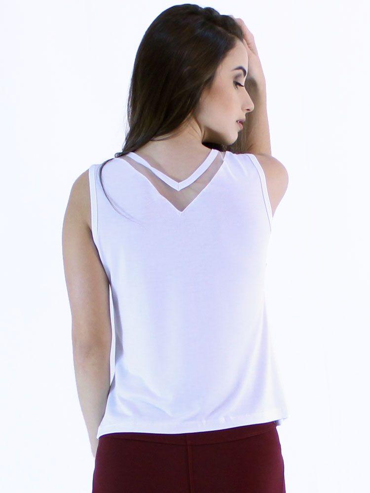 Regata Feminina Anistia Anistia Decote Com Tela Branco