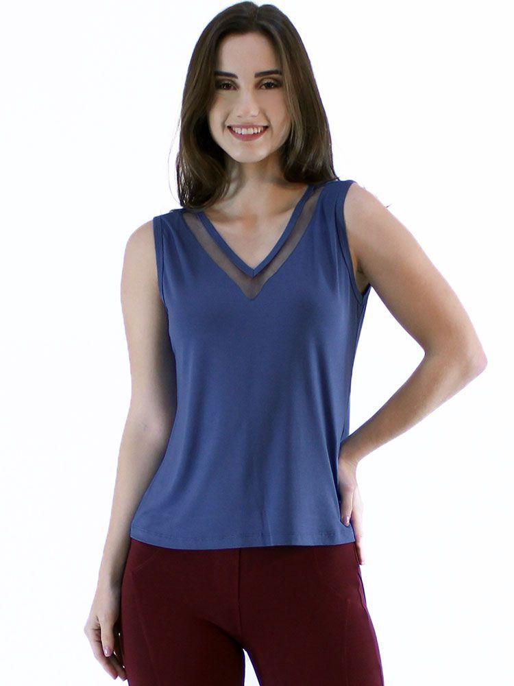 Regata Anistia Decote com Tela Azul Jeans