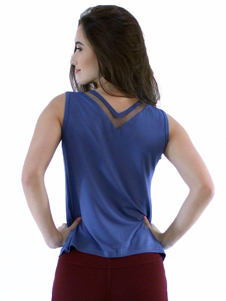 Regata Feminina Anistia Anistia Decote Com Tela Azul Jeans