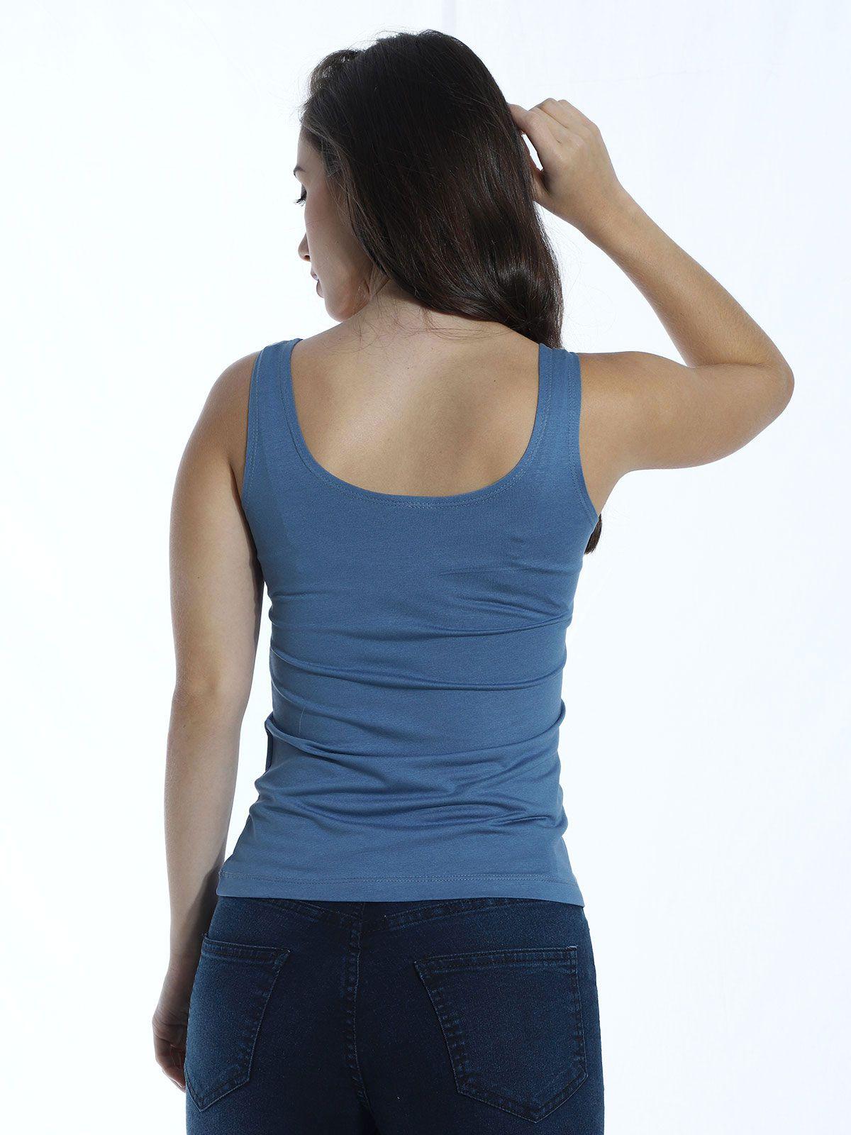 Regata Básica Lisa Anistia Viscolycra Azul Jeans