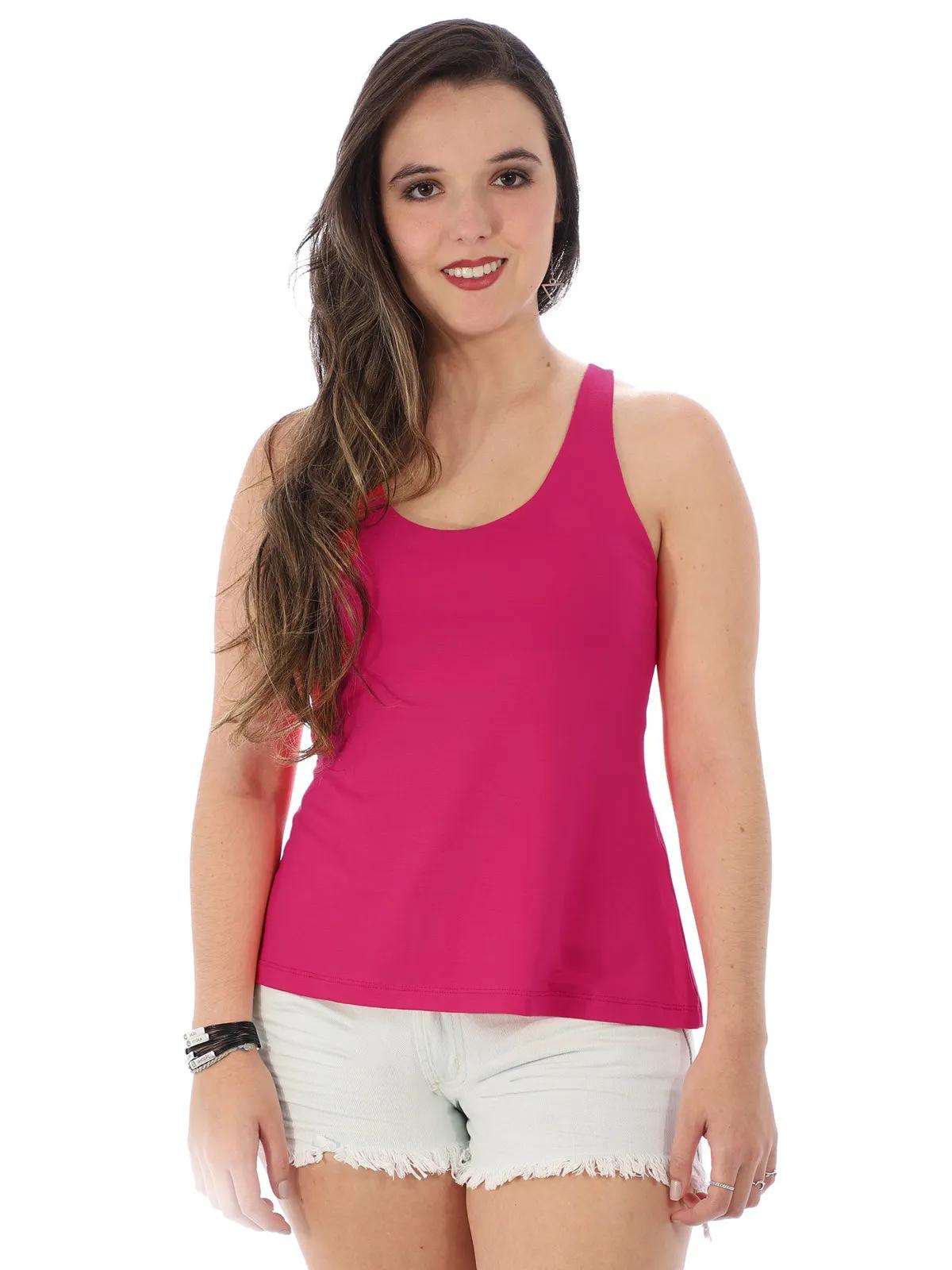 Regata Feminina Alça Larga Costa Aberta Pink