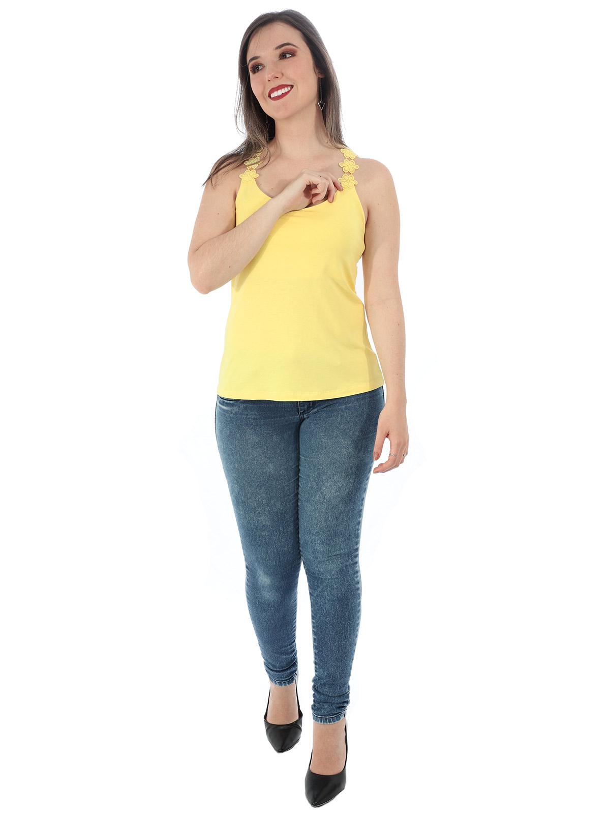 Regata Feminina com Decote Alça em Renda Guipir Amarelo