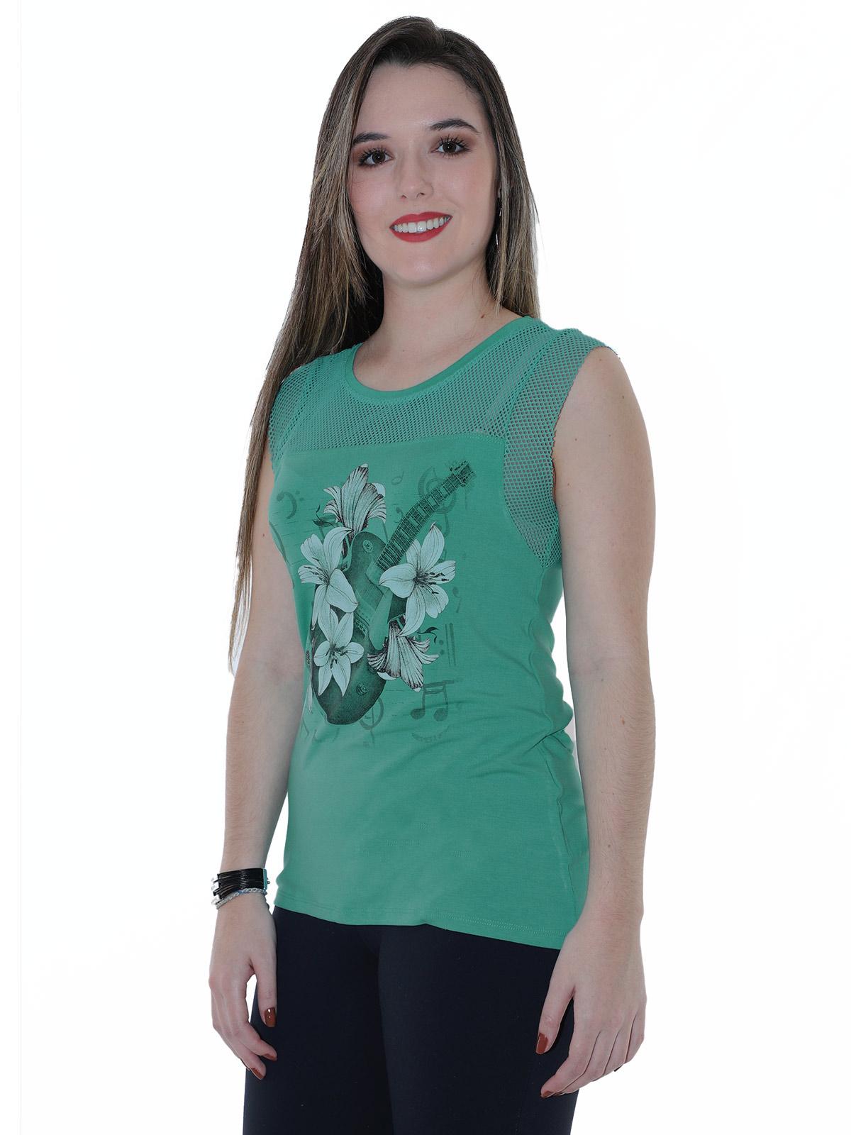 Regata Feminina Com Tela Anistia Verde