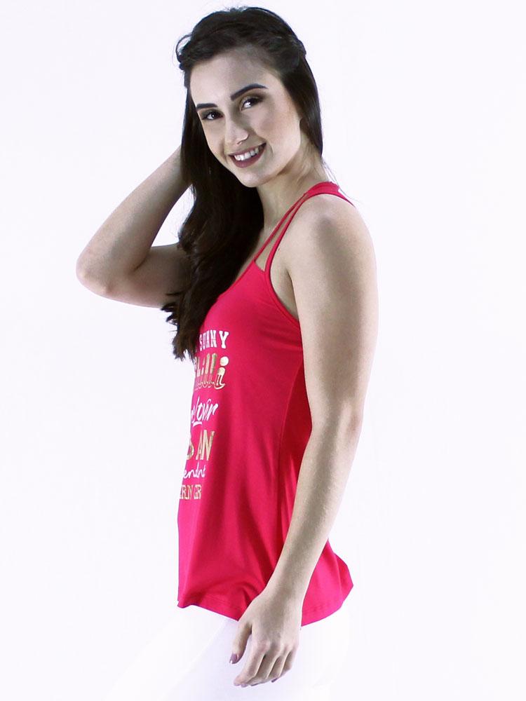 Regata Feminina Rec. Em Tela Com Estampa Confort Rosa Pink