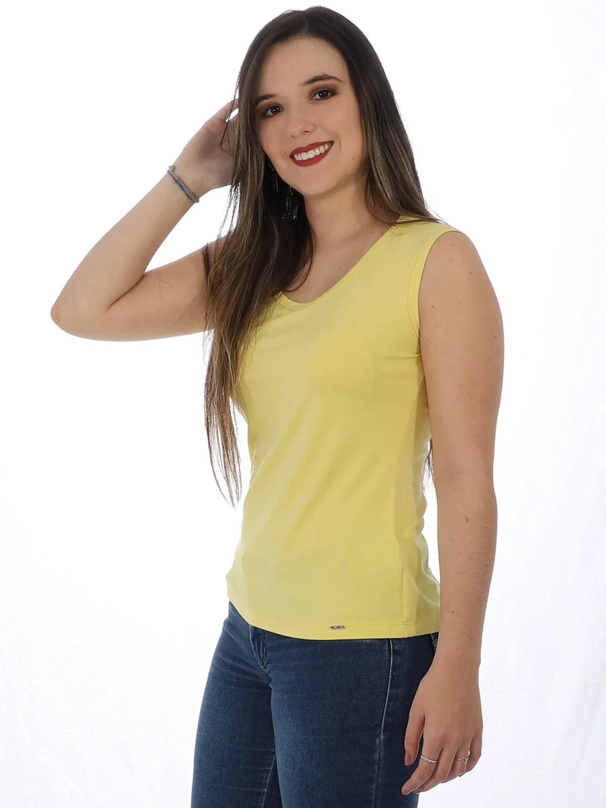 Regata Feminino Lisa Alça Larga Viscolycra Amarela