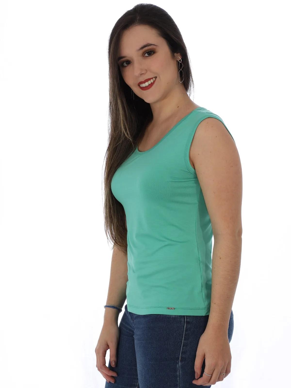 Regata Feminino Lisa Alça Larga Viscolycra Verde