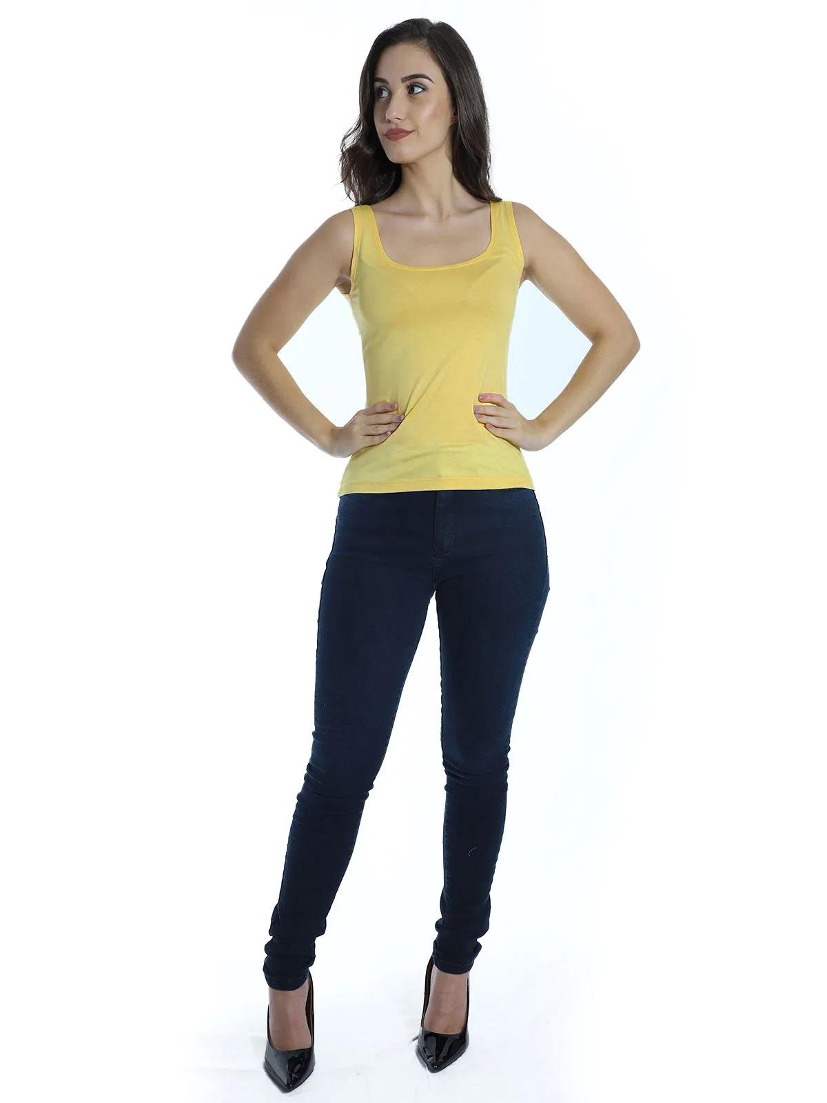 Regata Lisa Feminina Básica Viscolycra Alça Larga Amarelo