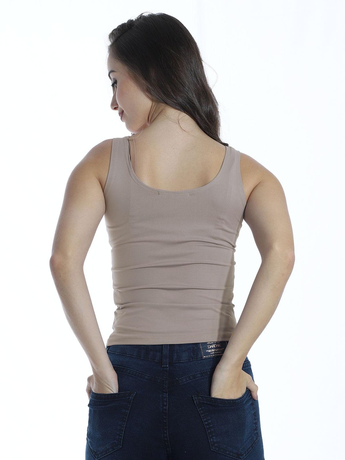 Regata Lisa Fitness Feminina Poliamida Básica Areia