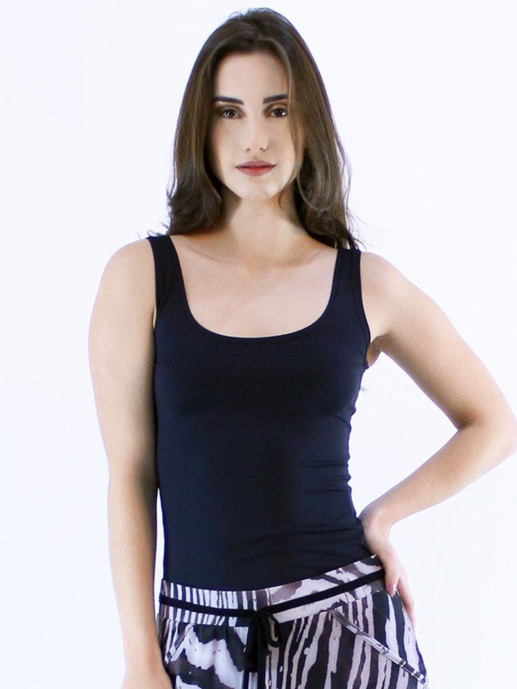 Regata Lisa Fitness Feminina Poliamida Básica Preto