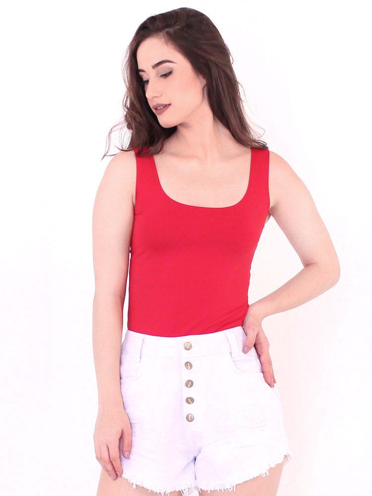 Regata Lisa Fitness Feminina Poliamida Básica Vermelha