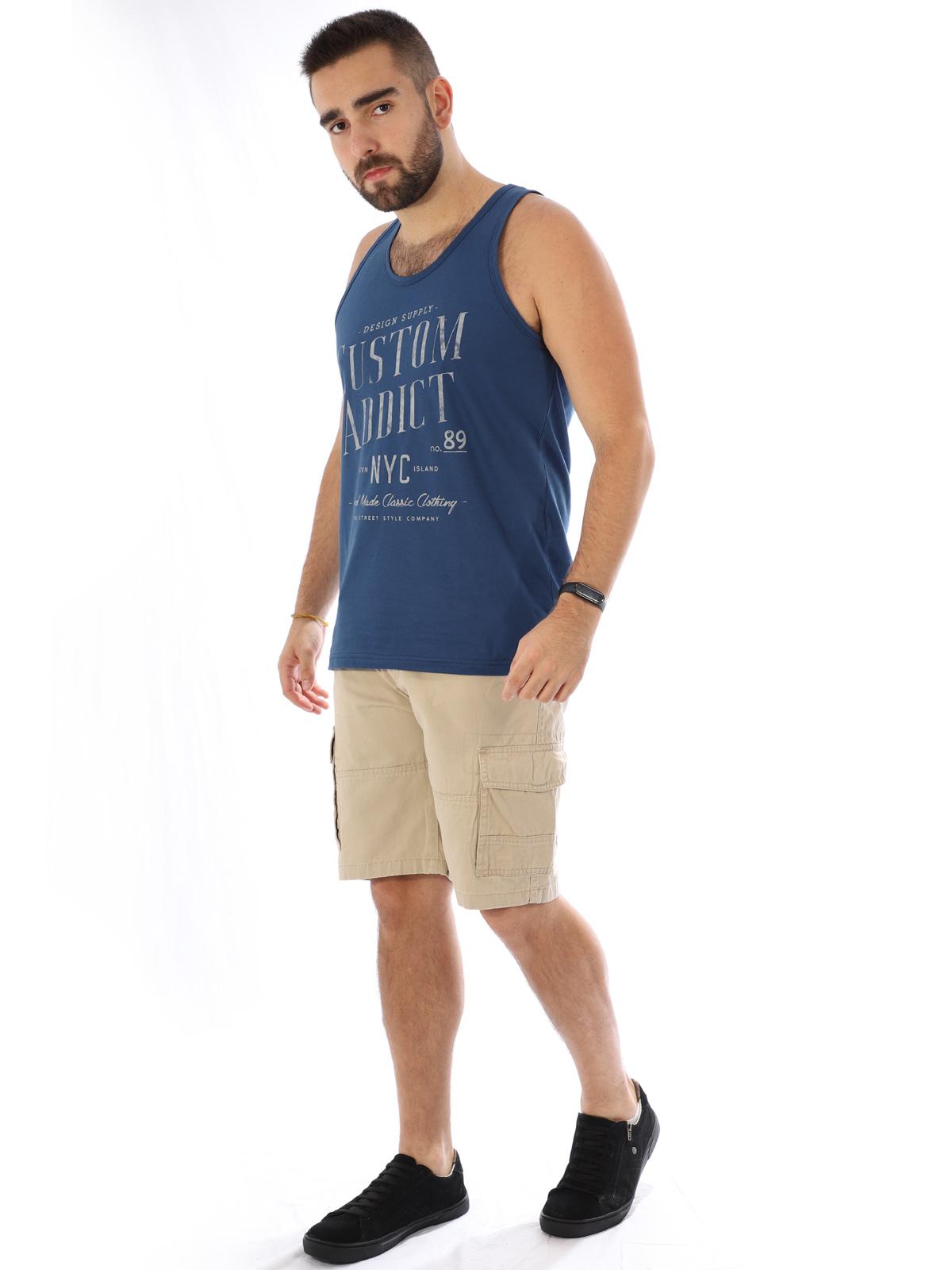 Regata Masculina Algodão com Estampa Custom Azul Jeans