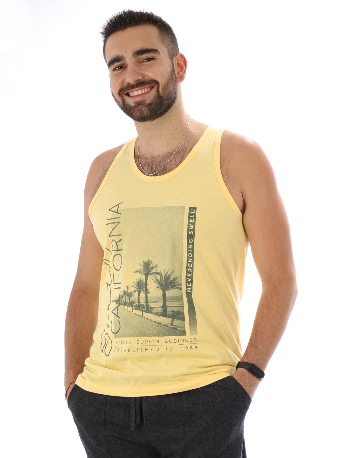 Regata Masculina Algodão Estampa California Amarelo