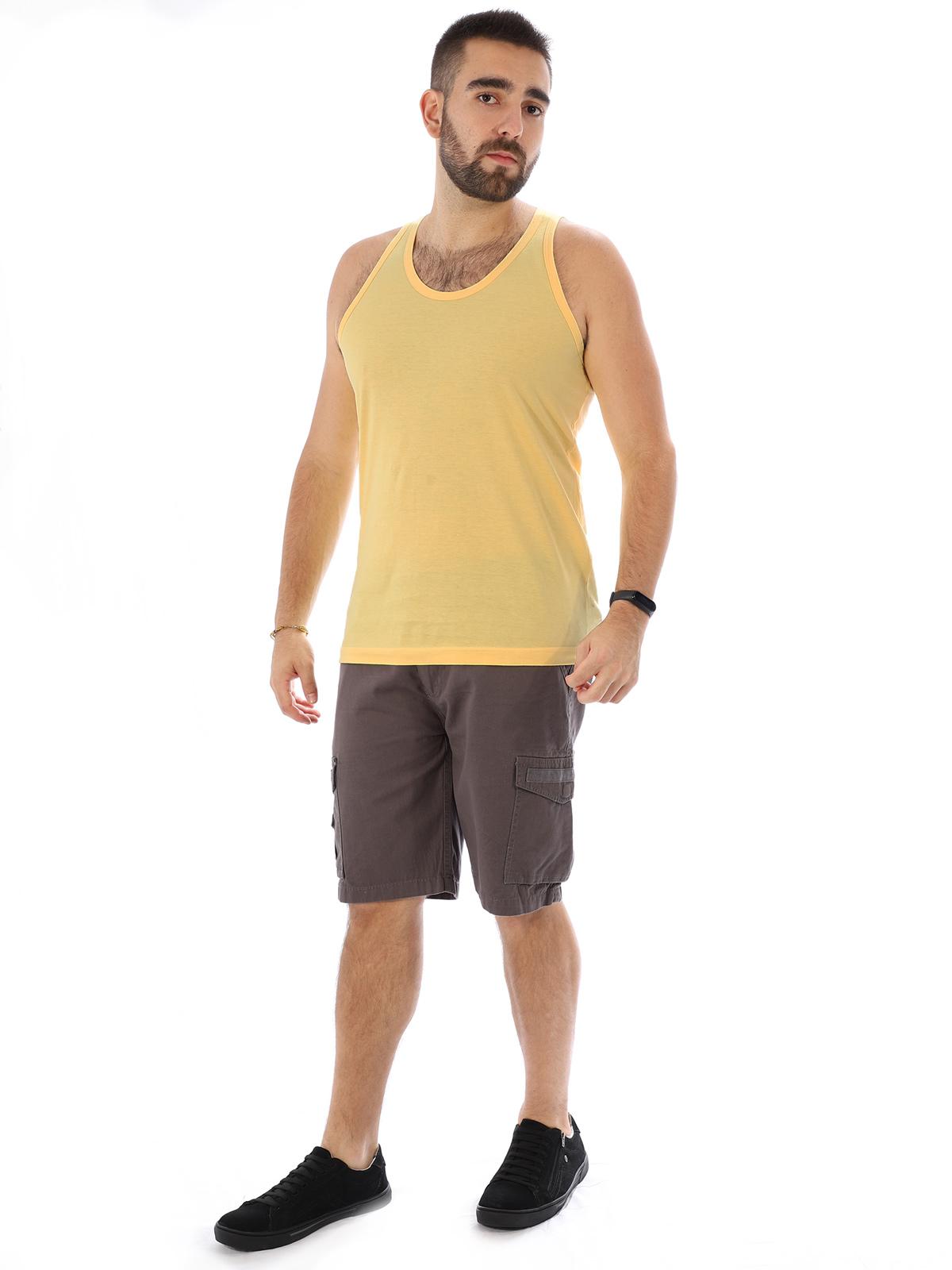 Regata Masculina Lisa Básica Tradicional Algodão Amarelo