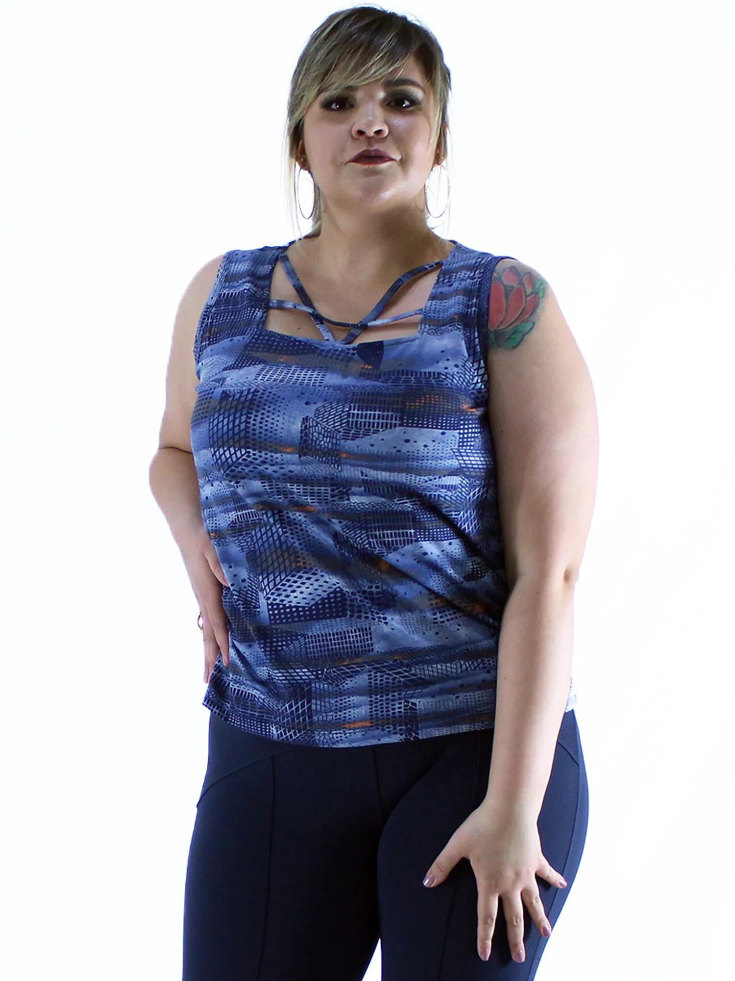Regata Plus Size Feminina Femme Estampada Confortável Azul