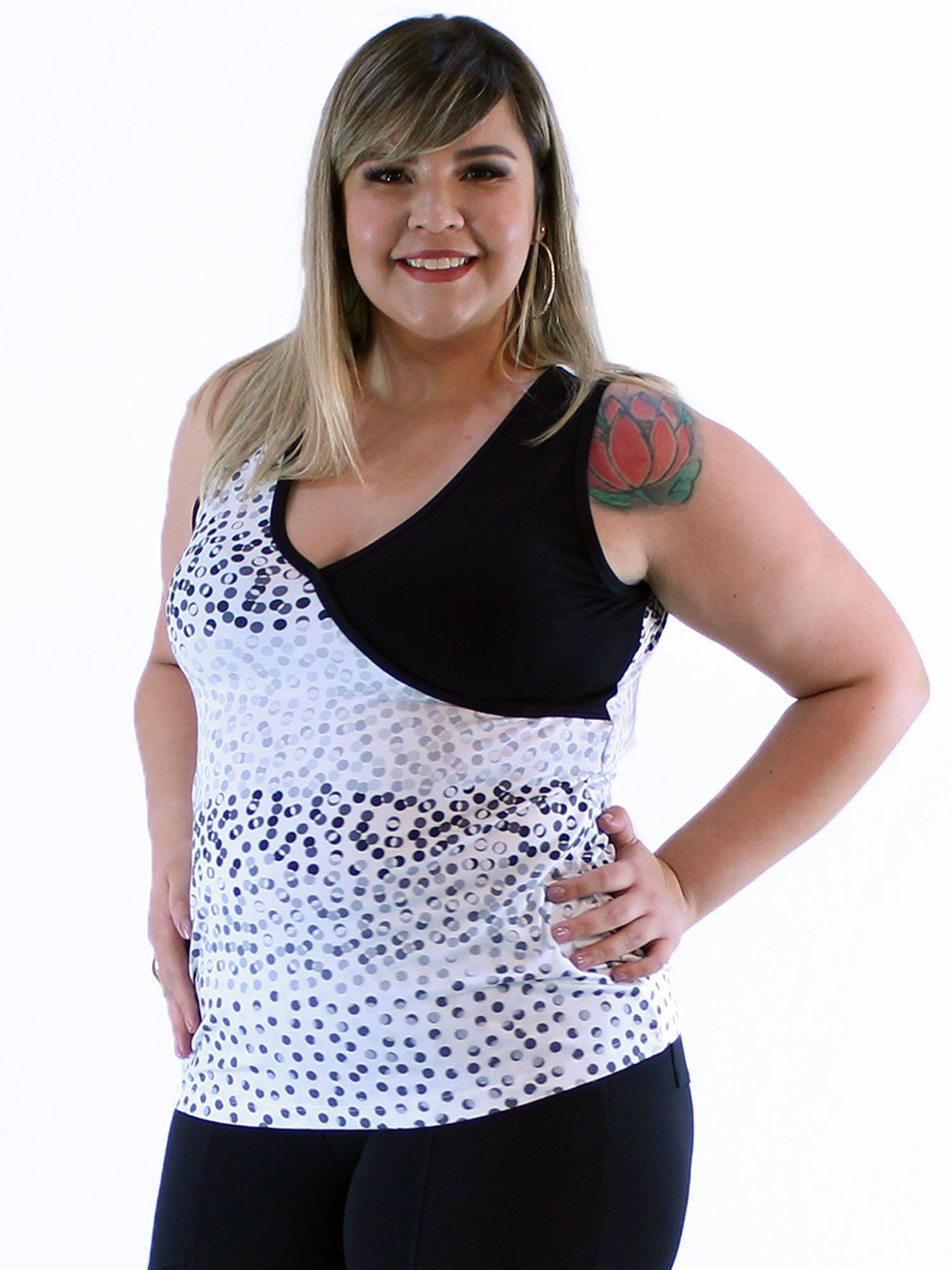 Regata Plus Size KTS Contraste Estampada Branco