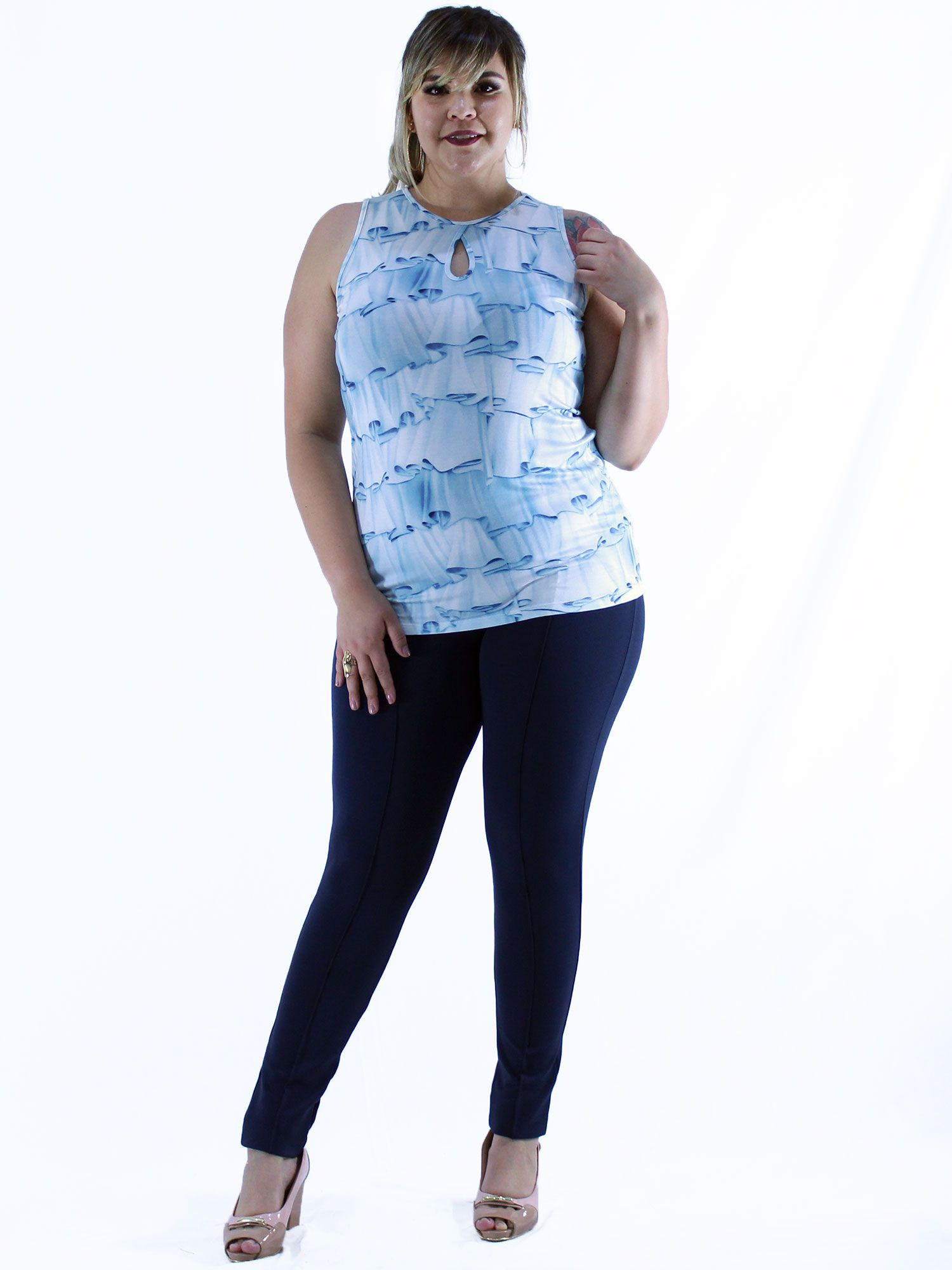 Regata Plus Size KTS Estampada Azul